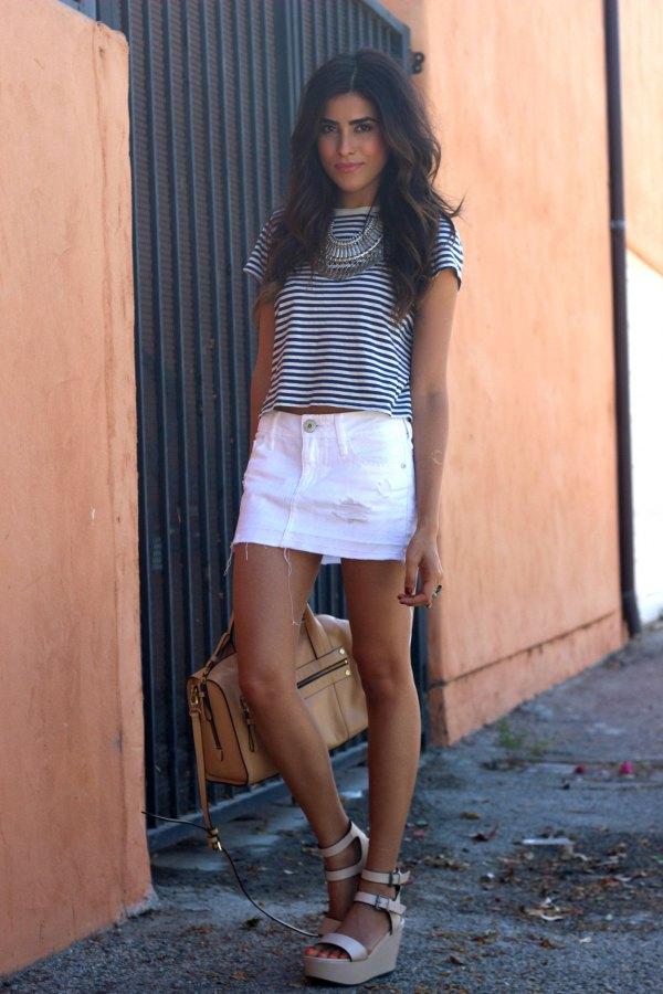 1caf4201ad 15 Refreshing & Stylish White Denim Skirt Outfit Ideas - FMag.com