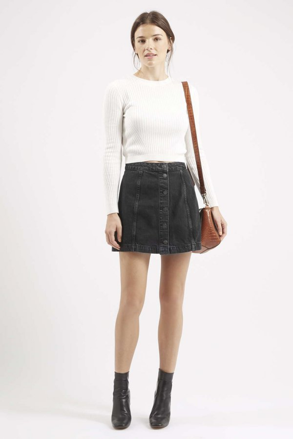 How to Wear Black Denim Skirt: 15 Stylish & Youthful Outfit