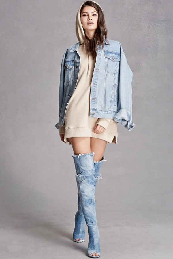 How To Wear Denim Thigh High Boots 15 Chic Outfit Ideas